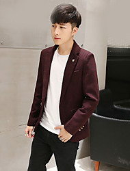 cheap -Men's Daily Going out Simple Casual Spring Fall Blazer,Solid Peaked Lapel Long Sleeve Short Others