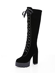 Women's Shoes Leatherette Winter Novelty Fashion Boots Boots Chunky Heel Round Toe Thigh-high Boots Lace-up For Wedding Party & Evening