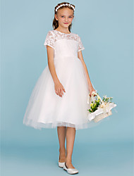 A-Line Princess Crew Neck Knee Length Lace Tulle Junior Bridesmaid Dress with Pleats by LAN TING BRIDE®