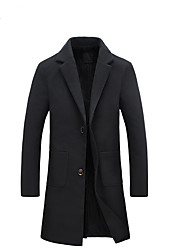 Men's Going out Casual/Daily Simple Sexy Street chic Winter Trench Coat,Solid Notch Lapel Long Sleeve Long Polyester