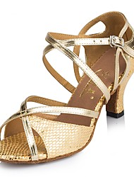 "Women's Latin Faux Leather Sandal Heel Sneaker Indoor Sequin Stiletto Heel Blue Red Gold 3"" - 3 3/4"" Customizable"