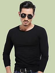 Men's Sports Casual/Daily Round Pure Work Casual Basic Casual/Daily Keep Warm Leisure Sport T-Shirt Fall Winter T-shirt,Solid Round Neck
