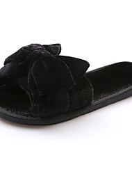 cheap -Women's Shoes PU Fall / Winter Comfort Slippers & Flip-Flops Flat Heel Open Toe Bowknot for Black / Gray / Purple
