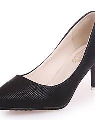 Mujer Zapatos PU Primavera Otoño Confort Pump Básico Tacones Tacón Bajo Dedo Puntiagudo Para Vestido Fiesta y Noche Dorado Negro Plata