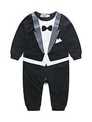 Baby Boys' Solid Color One-Pieces,Cotton Autumn/Fall Dresswear Long Sleeve White Black