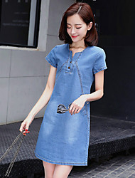 cheap -Women's Going out Plus Size Cute Sexy Street chic Sheath Denim Dress,Solid Patchwork Round Neck Above Knee Short Sleeves Polyester Summer
