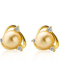 Women's Stud Earrings Cubic Zirconia Pearl Luxury Elegant Pearl Sterling Silver Imitation Pearl Gold Pearl Round Geometric Jewelry For