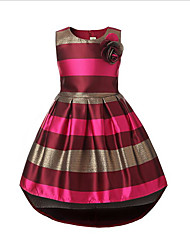 cheap -Girl's Daily Striped Dress, Cotton Polyester Spring Fall Sleeveless Stripes Blue Wine