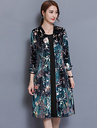 Women's Plus Size Casual/Daily Vintage Street chic A Line Loose Dress,Print Patchwork V Neck Knee-length 3/4 Length Sleeves Polyester