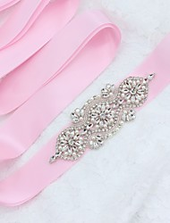 Satin/ Tulle Wedding Special Occasion Sash With Rhinestone Crystal Imitation Pearl