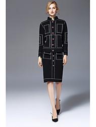 Dámské Barevné bloky Jdeme ven Roztomilý Tričko Sukně Obleky-Podzim Stojáček Dlouhý rukáv Mikro elastické