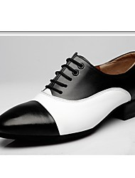 """cheap -Men's Modern Leather Oxford Outdoor Splicing Chunky Heel Black-white Brown/White 1"""" - 1 3/4"""""""