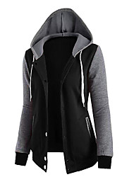 Women's Going out Casual Hoodie Solid Hooded Micro-elastic Polyester Long Sleeve Winter Fall