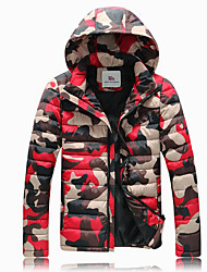 Men's Down Coat,Street chic Going out Color Block Camouflage-Others Polypropylene Long Sleeves