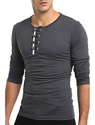 cheap -Men's T-shirt - Solid Colored Round Neck / Long Sleeve