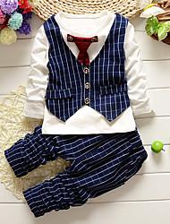 Недорогие -Дети (1-4 лет) Мальчики Шахматка Однотонный Длинный рукав Обычный Обычная Хлопок Набор одежды Черный