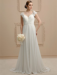A-Line Princess V-neck Sweep / Brush Train Chiffon Lace Wedding Dress with Beading Flower(s) Criss-Cross by LAN TING BRIDE®
