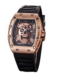 Недорогие -Муж. Спортивные часы Часы со скелетом Наручные часы Кварцевый силиконовый Черный Защита от влаги Секундомер С гравировкой Аналоговый На каждый день Мода Элегантный стиль -  / Нержавеющая сталь