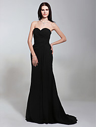 cheap -Mermaid / Trumpet Strapless Sweetheart Sweep / Brush Train Chiffon Formal Evening Military Ball Dress with Criss Cross Side Draping by TS