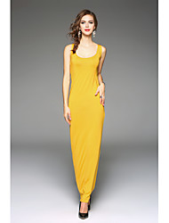 Women's Casual/Daily Simple Loose Dress,Solid Round Neck Maxi Sleeveless Polyester Summer Mid Rise Inelastic Thin