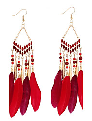 Women's Hoop Earrings Acrylic Fashion Bohemian Feather Alloy Geometric Feather Jewelry For Casual Evening Party