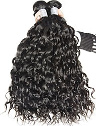 Virgem Cabelo Brasileiro Cabelo Humano Ondulado Ondas Leves Extensões de cabelo 3 Peças Preto