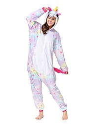 cheap -Kigurumi Pajamas Unicorn Onesie Pajamas Costume Flannel Toison Purple Cosplay For Adults' Animal Sleepwear Cartoon Halloween Festival /
