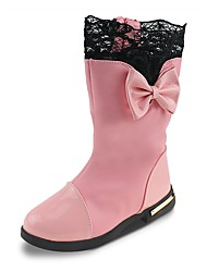cheap -Girls' Shoes Leatherette Fall Winter Snow Boots Fashion Boots Boots Bowknot Chain For Party & Evening Dress Blushing Pink Red Black