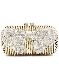 cheap -Women Bags Metal Evening Bag Bow(s) Crystal Detailing for Wedding Event/Party All Seasons Gold