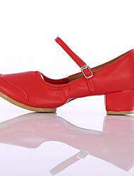 Недорогие -Для женщин Современный Дерматин На каблуках Для начинающих На низком каблуке Красный Персонализируемая
