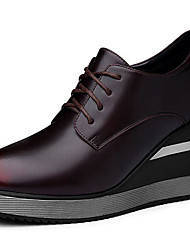 Women's Shoes Cowhide Spring Fall Comfort Oxfords For Casual Black Burgundy