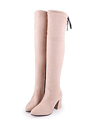Women's Shoes PU Fall Winter Comfort Novelty Fashion Boots Boots Chunky Heel Pointed Toe Thigh-high Boots Lace-up For Party & Evening