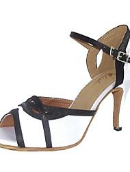 Women's Latin Satin Sandal Indoor Customized Heel Black/White Beige