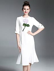 cheap -Women's Basic Sheath Dress - Floral, Ruffle