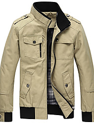 Men's Going out Casual/Daily Simple Spring Fall Jacket,Solid Stand Long Sleeve Regular Cotton Acrylic