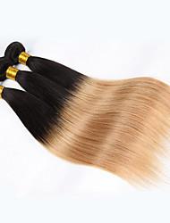 3pcs 300g 12-26 polegadas de cabelo virgem brasileiro não processado cabelo humano reto dois tons 1b / 27 # ombre cabelo tece