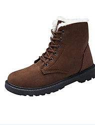 cheap -Women's Shoes Flocking Winter Fall Fluff Lining Snow Boots Boots Flat Heel Round Toe Booties/Ankle Boots Split Joint for Casual Outdoor