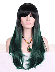 cheap -Women Synthetic Wig Capless Long Wavy Black/Dark Green Ombre Hair Dark Roots With Bangs Cosplay Wig Costume Wig