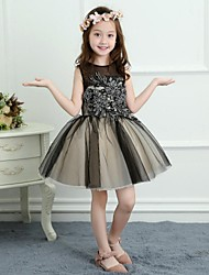 A-Line Short / Mini Flower Girl Dress - Satin Tulle Sleeveless Jewel Neck with Appliques by Nameilisha