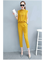 Women's Going out Simple Summer Blouse Pant Suits,Solid Crew Neck Sleeveless