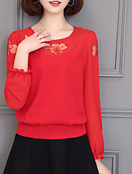 Women's Going out Casual/Daily Simple Winter Fall Blouse,Solid Round Neck Long Sleeves Polyester Medium
