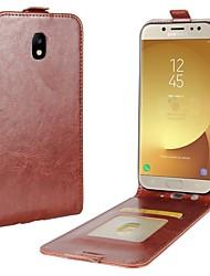Недорогие -Кейс для Назначение Apple SSamsung Galaxy J7 (2017) J5 (2017) J3 (2017) Бумажник для карт Флип Чехол Сплошной цвет Твердый Искусственная