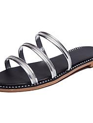 economico -Da donna Scarpe PU (Poliuretano) Estate Comoda Pantofole e infradito Piatto Punta tonda Per Formale Oro Argento