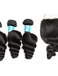 abordables -Cheveux Malaisiens Cheveux Rémy Ondulation Lâche Tissages de cheveux humains 4 One Pack Solution