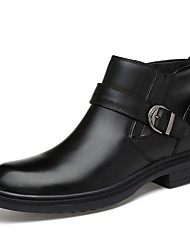 cheap -Men's Shoes Nappa Leather Spring / Fall Fashion Boots Boots Mid-Calf Boots Black