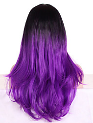 cheap -Women Synthetic Wig Capless Long Wavy Purple Ombre Hair Dark Roots With Bangs Cosplay Wig Costume Wig