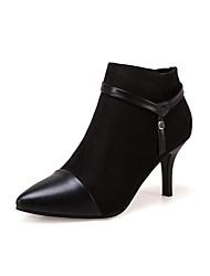 Damen Schuhe Stoff Herbst Winter Komfort Stiefel Stöckelabsatz Booties / Stiefeletten Für Normal Schwarz Khaki