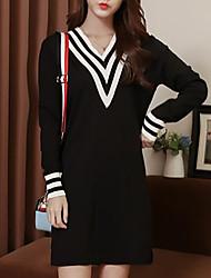 preiswerte -Damen Übergrössen Langarm Lang Pullover-Solide V-Ausschnitt