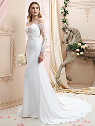 cheap -Mermaid / Trumpet Plunging Neckline Chapel Train Chiffon Corded Lace Custom Wedding Dresses with Appliques Buttons Sashes/ Ribbons by LAN