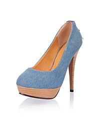 cheap -Women's Shoes Denim Spring Fall Comfort Heels Stiletto Heel Round Toe Rhinestone Zipper For Outdoor Office & Career Light Blue Dark Blue
